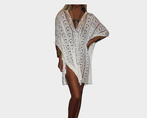 Black & Silver Metallic Apres-Beach Cover-up - The Beverly Hills