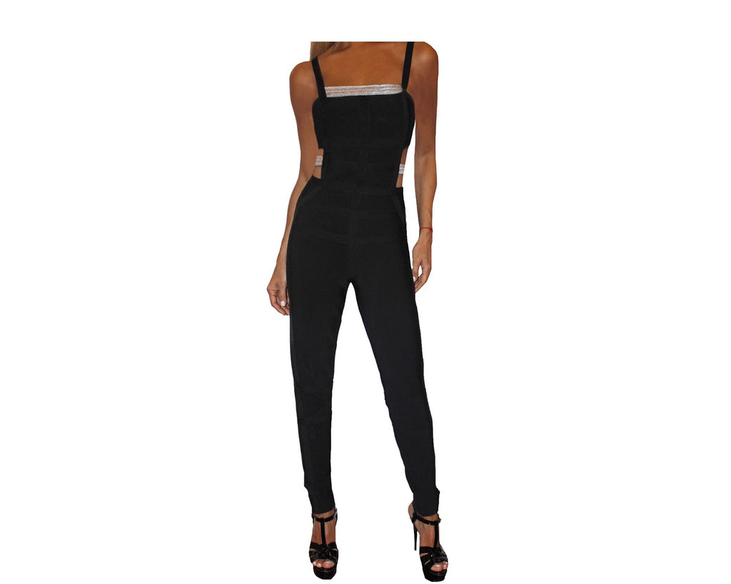 Black & Silver Cut-Out Bodysuit Jumpsuit - The Palm Springs