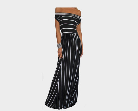 Black & White Stripe Off Shoulder Dress - The Monte Carlo