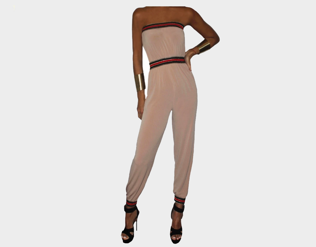 Taupe and Nautical Black, Red & Gold strapless Jumpsuit - The Corso Venezia