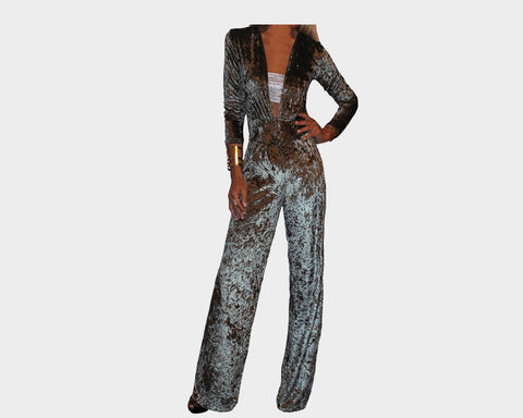 Hollywood Silver Suede Jumpsuit - The Park Avenue