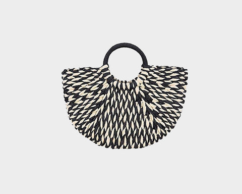 Print Metallic Black Vegan Leather Hand Bag - The Soho