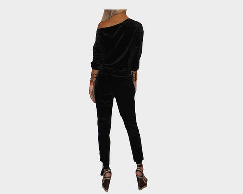 Black Off the Shoulder Jog Suit - The Pacific Palisades