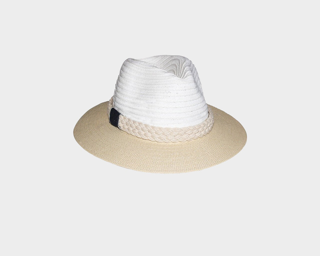 Beige and White Sun Hat - The Hamptons