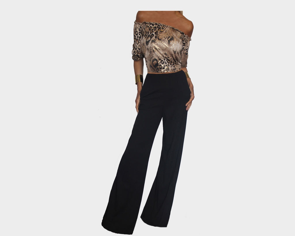 Black and Golden Leopard Two-Piece Set Jumpsuit - The Monte Carlo