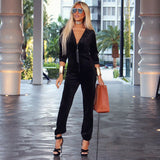 Black Velour One piece Jog Suit - The Manhattan