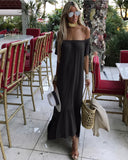 Black Off Shoulder Ruffle Bottom Dress - The Monaco