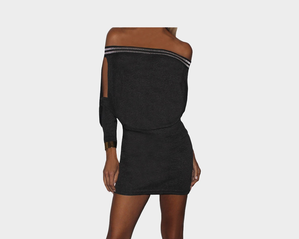 Dark Gray Open/Slit Sleeves Tube Bottom Dress - The St. Tropez