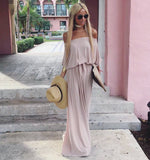 Angora Taupe Long Off Shoulder dress - The Milano