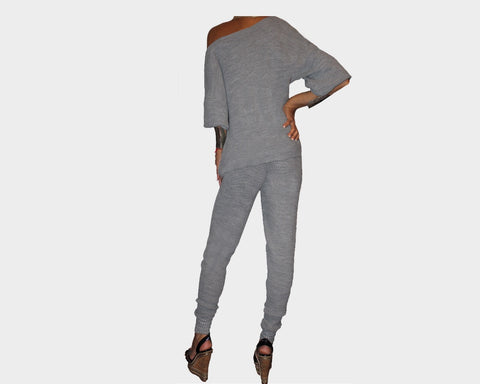 Gray Off the Shoulder Jog Suit - The Pacific Palisades