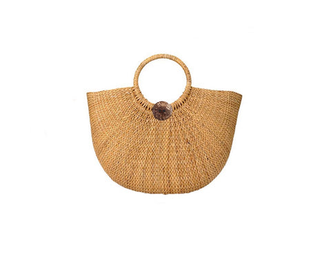 Toasted Sand Straw Palm Bag - The Tuscany
