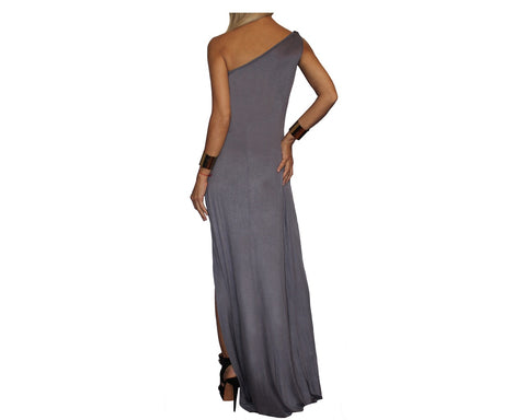 Blush Plum One Shoulder Cascade Bottom Slit Dress - The Park Avenue