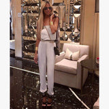 White & Silver strapless Jumpsuit - The Corso Venezia