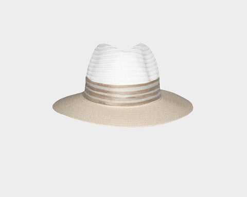 White & Black Fedora Style Sun Hat - The Globetrotter