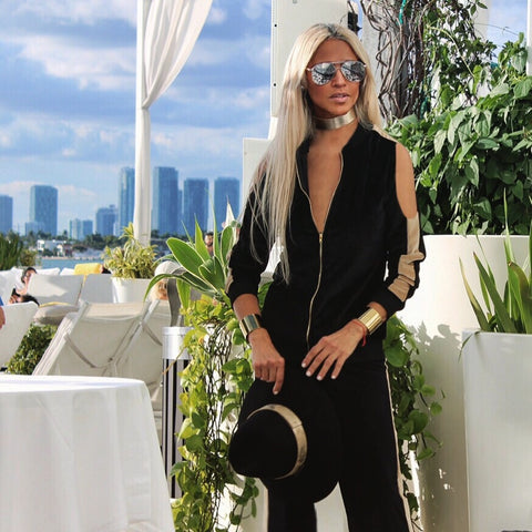 Black & Gold Open Shoulder Jog Suit - The Monaco