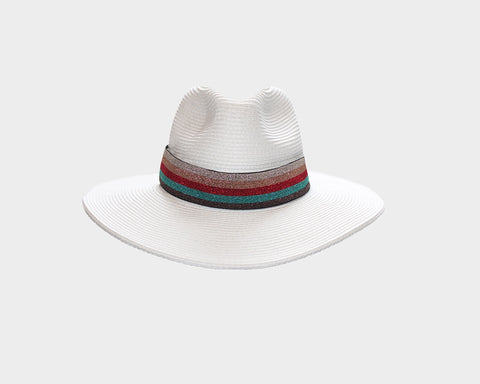 6. Black & White Denim Fedora Style Sun Hat - The Hamptons