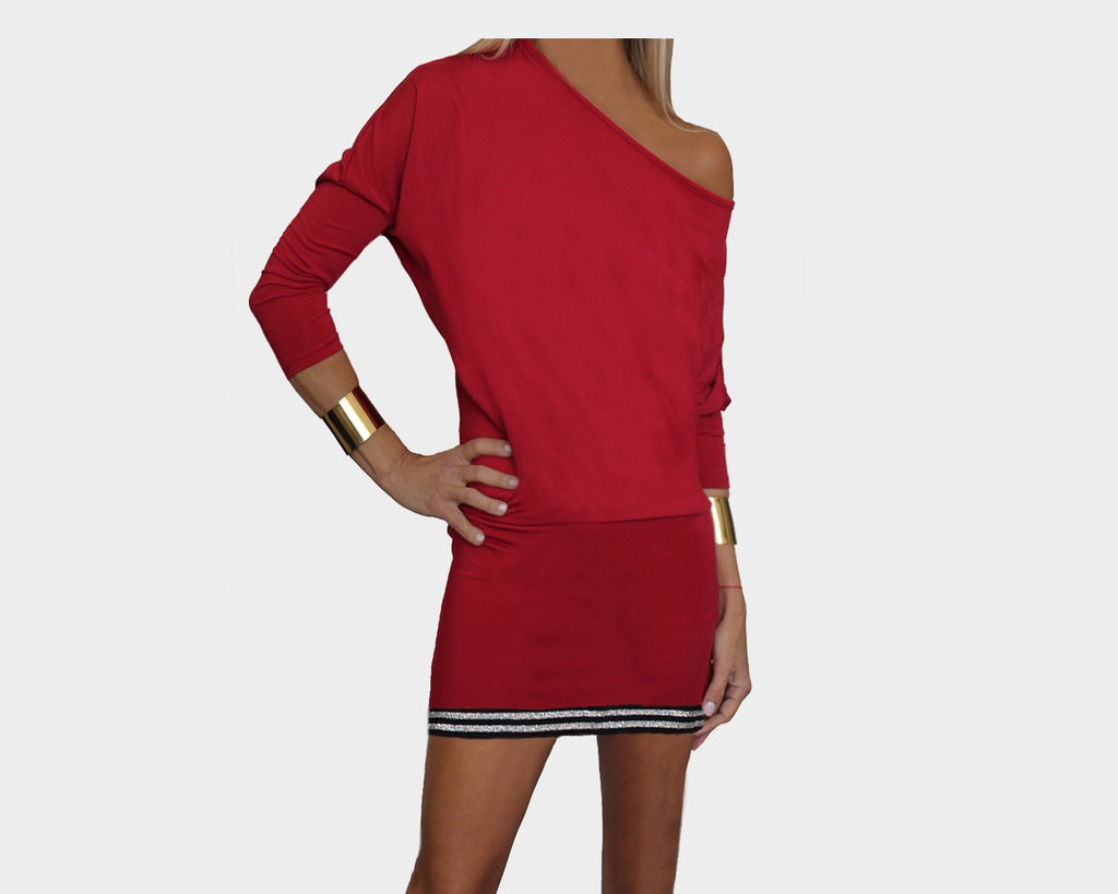 Cherry Red off-shoulder style dress - The Soho