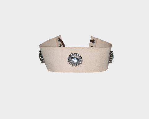 Blush Beige Crystal Choker - The Milano