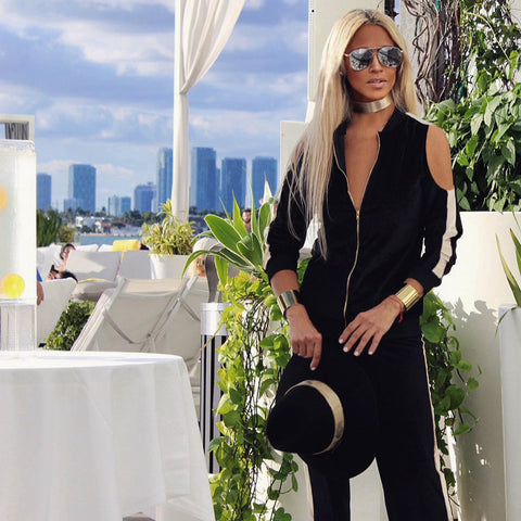 Black Open Shoulder Jog Suit - The Monaco