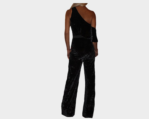 Black Velour One piece Jumpsuit - The Monte Carlo