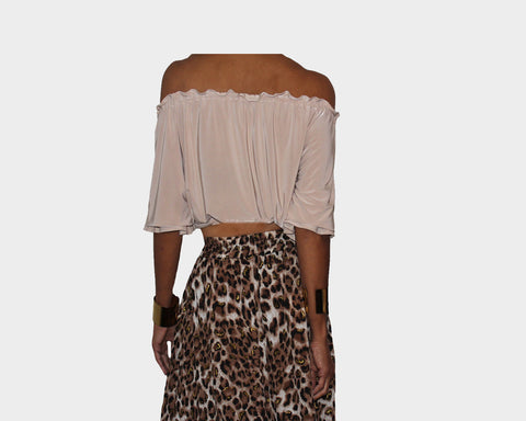 Angora Taupe Off Shoulder Crop Top - The St. Barth