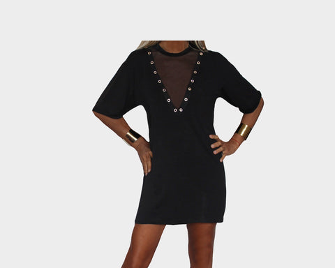 Black V-Front Mesh T-Shirt Dress - The Hampton