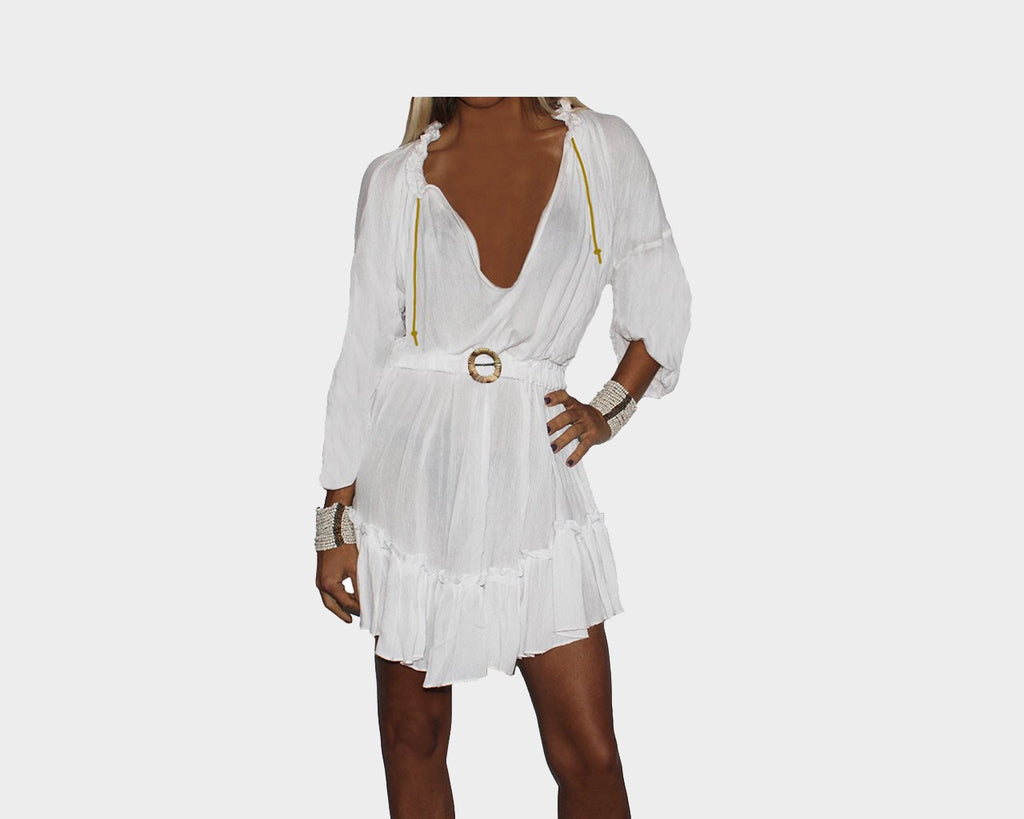 White Apres-Beach flowy Short Dress- The Amalfi Coast