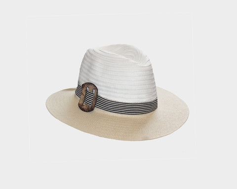 White Panama Style Sun Hat - The Marbella