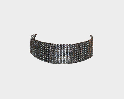Hematite Wide Crystal Diamond Choker - The Ibiza