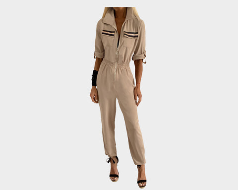 Sand Beige Hollywood Glamour Jumpsuit - The Malibu