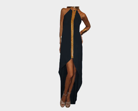 Black & Gold Front Slit Dress - The St. Tropez