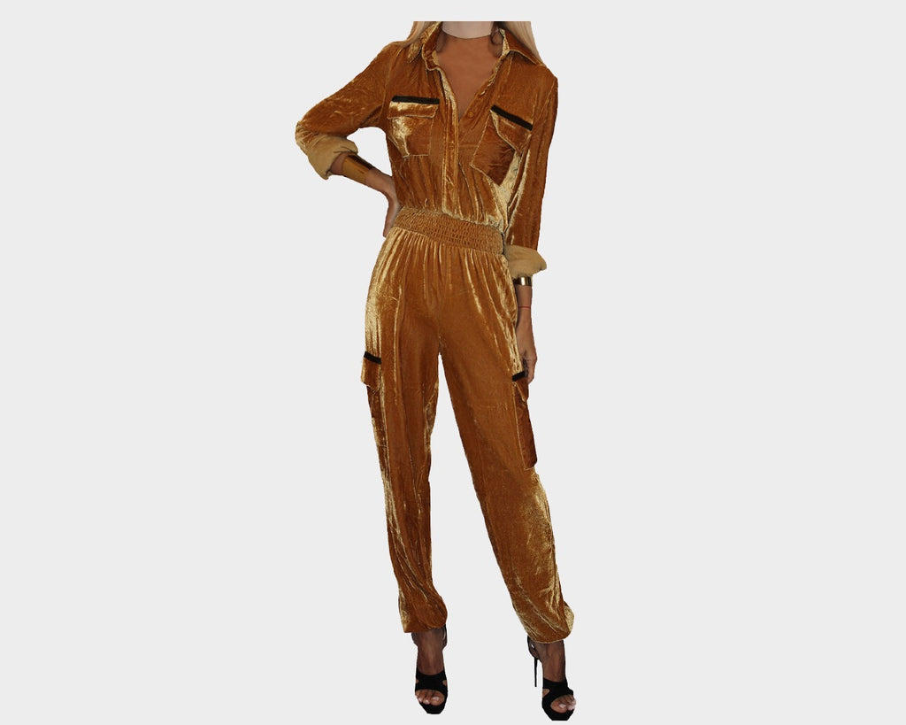 Deep Camel Velour One piece Jog Suit - The Manhattan