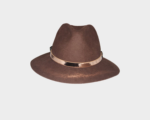 Felt Burnt Orange 100% Wool Panama Style Hat - The Aspen