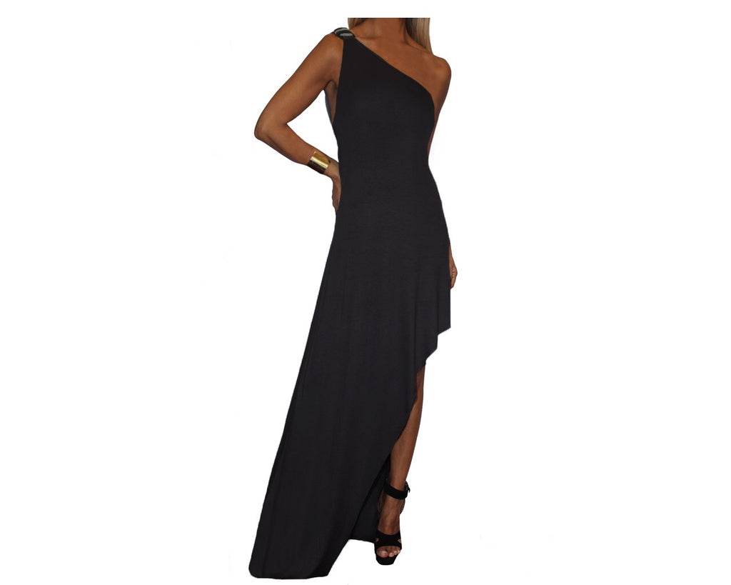 Black One Shoulder Cascade Bottom Slit Dress - The Park Avenue