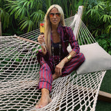 Plum Burst organic silk loungewear - The Monaco