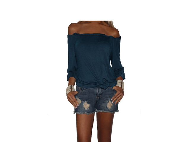 fbb39788bc16d7 Persian Blue Off the Shoulder Top - The Ibiza – Regine Chevallier