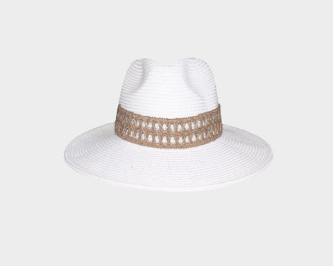 White & Black Panama Style Sun Hat - The Hamptons