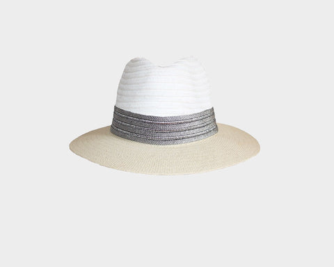 Beige and White Denim Sun Hat - The Hamptons