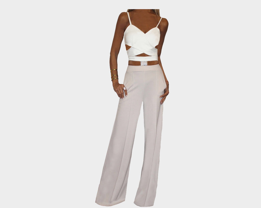Cut-out Tuxedo Off-White & Taupe Jumpsuit - The Hamptons