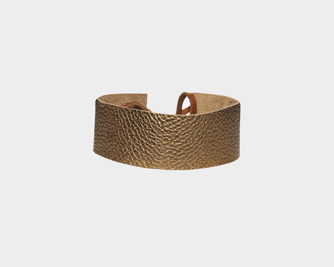 Genuine Gold Metallic Leather Choker - The East Hampton