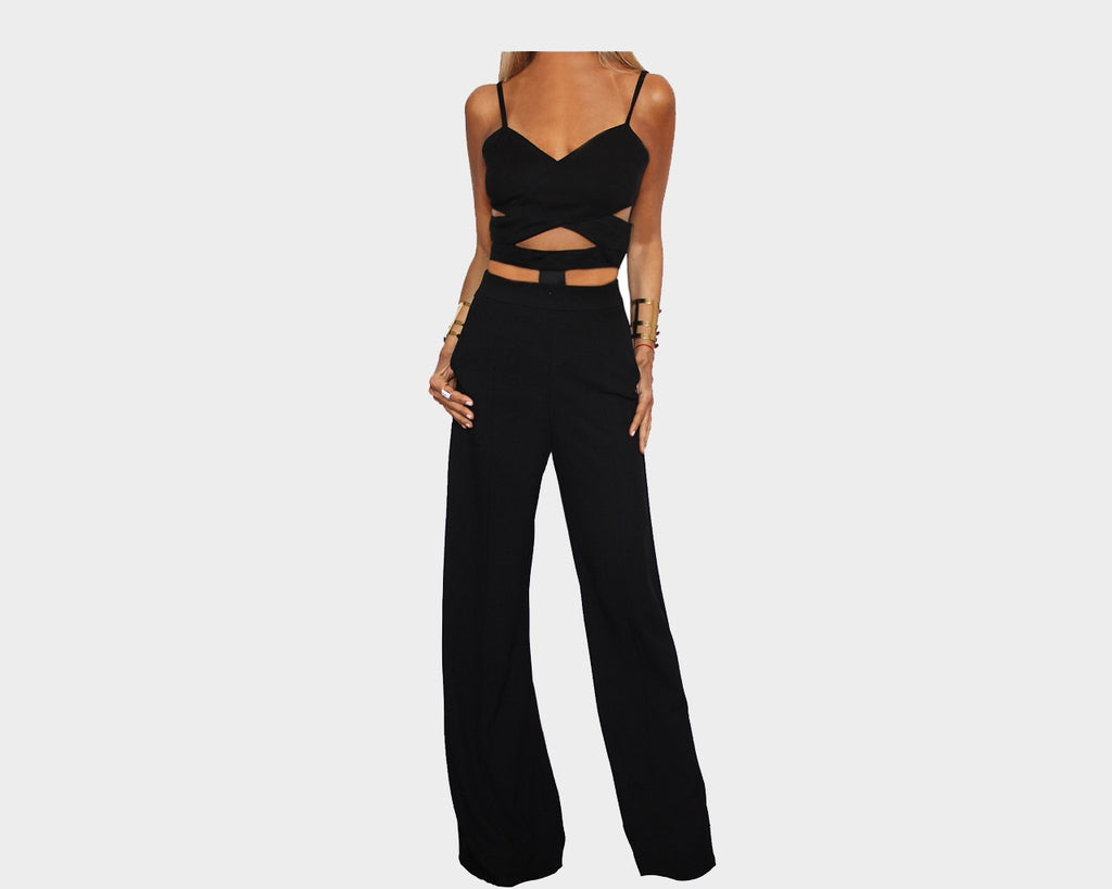 Cut-out Tuxedo Black Jumpsuit - The Park Avenue