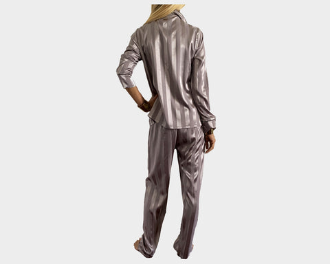 Silver Mauve organic silk loungewear - The Park Avenue