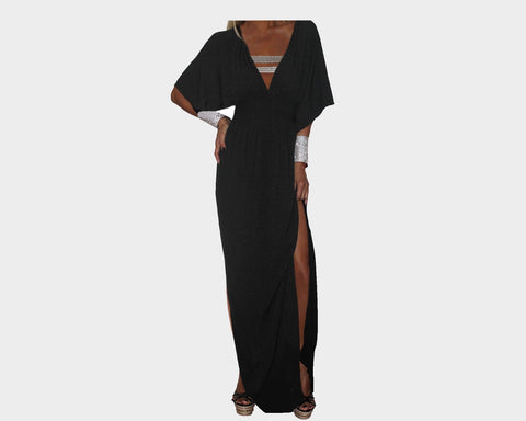 Black Slit Kaftan Dress - The Cannes