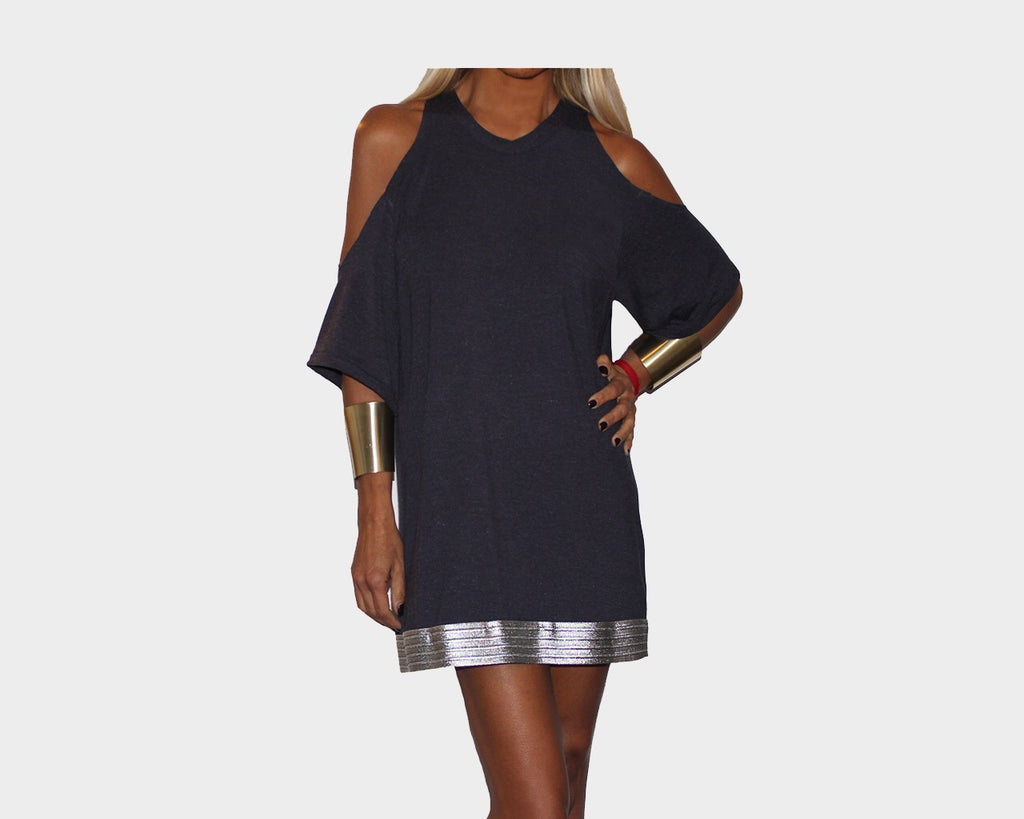 Blue Indigo Cold Shoulder Short Dress - The St. Barth