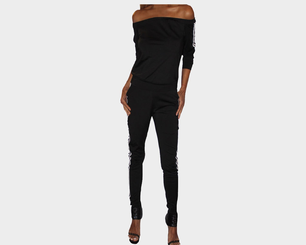 Black Off the Shoulder Jog Suit - The Marbella