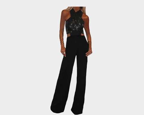 Black Criss Cross Jumpsuit - The Rodeo Drive