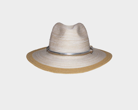 White & Black Panama Style Sun Hat - The Nice