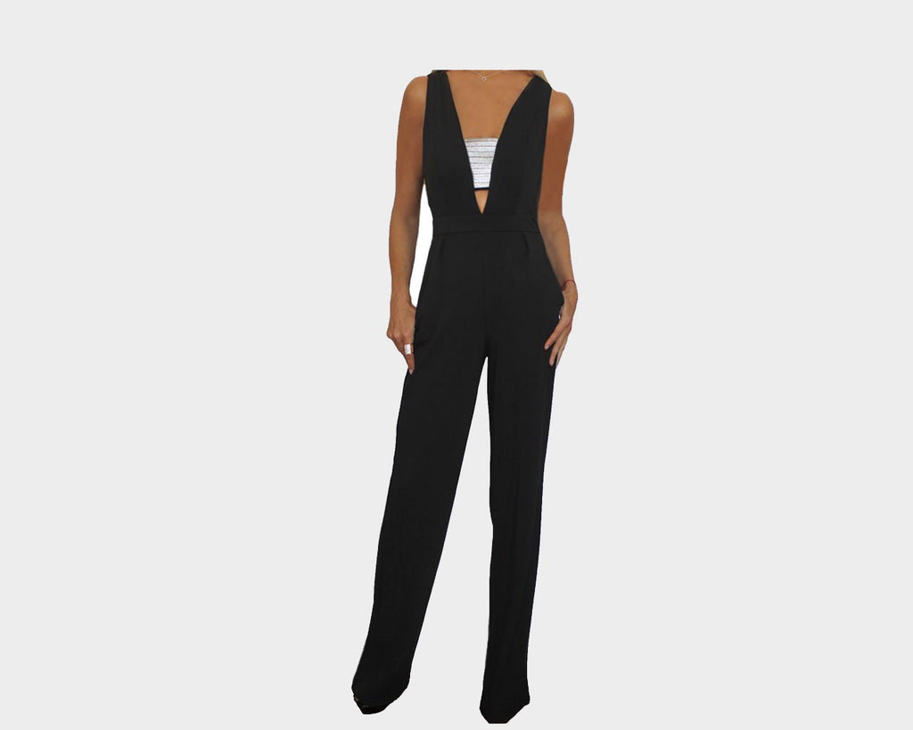 Black Deep V Jumpsuit - The Bel Air