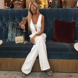 Pure White Deep V Jumpsuit - The Bel Air