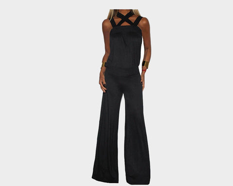 Black Criss Cross Strap Jumpsuit - The Milano